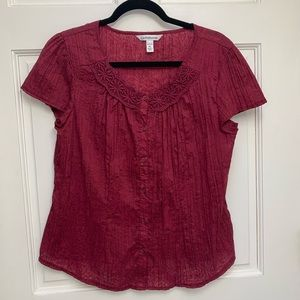 ☀️ 3/$15 Croft & Barrow Petite Maroon Top